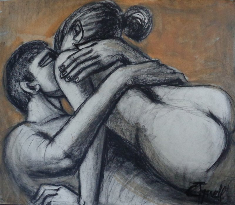 Lovers - The Heat of Love.jpg :: Original unique charcoal and ochre yellow acrylic painting on paper, unframed. A contemporary fresh and spontaneous drawing of an embracing couple kissing. Size 65cm x 56cm (25.5\