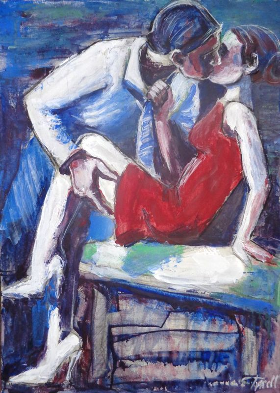 Lovers - Attraction.jpg :: Original unique contemporary figurative acrylics painting on paper, unframed. A romantic image of a couple in love engaged in a passionate kiss. Used palette knife techniques and red, blue and white acrylic paints. Size 78 cm x 56 cm (29.5\