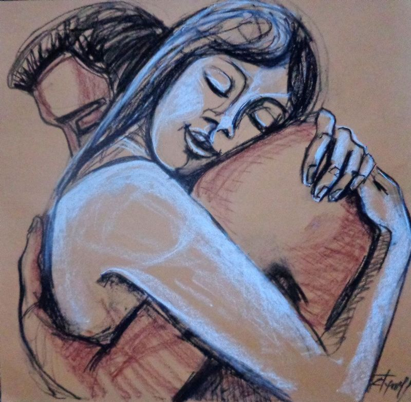 Lovers - Happy Together.jpg :: Original unique contemporary figurative charcoal and pastel drawing on paper, unframed. Image of an embraced couple in love. Size 23.5\