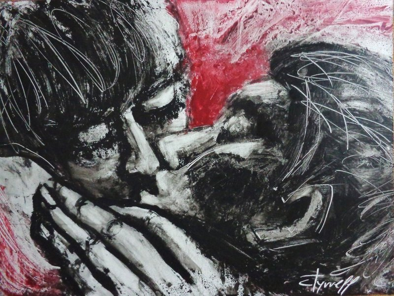 Lovers - Her Kiss.jpg :: Original unique acrylics painting on glossy cartridge paper, unframed. A contemporary figurative expressionistic image of a couple in love kissing.  Size 43cm x 32cm (17\
