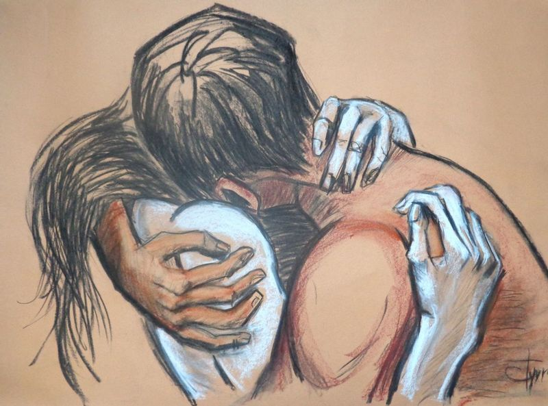 Lovers - Love You Forever.jpg :: Original unique contemporary figurative charcoal and pastel drawing on paper, unframed. Image of an embraced couple in love. Size 33\