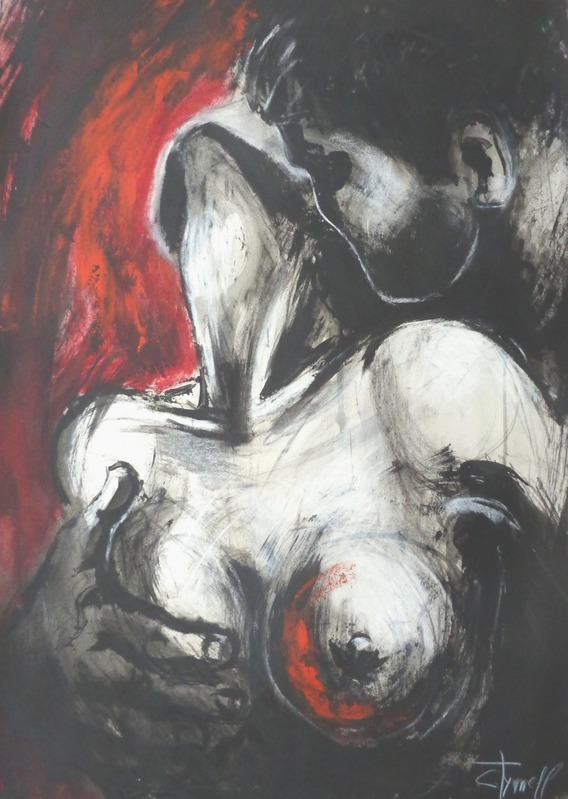 Lovers - Gypsy Passion 3.jpg :: Original contemporary figurative acrylics, charcoal and chalk painting on paper, unframed. Sensual image of a passionate couple in love.Large  strokes of black and red acrylic paints applied by palette knife. Size 19.75 \
