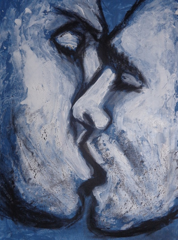 Lovers - Kiss In Blue.jpg :: Original contemporary figurative painting on canvas, painted edges and ready to hang. The painting is part of a series of close-up images of couple in love kissing. Heavy textured painting made using charcoal and acrylics applied by palette knife. Size 40 cm x 30 cm x 1 cm (16 \