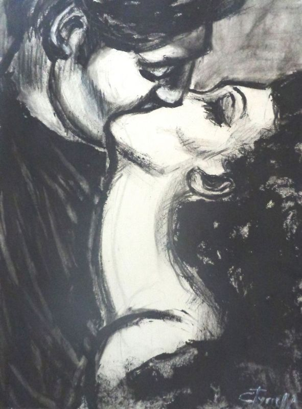 Lovers - Love You Madly.jpg :: Original contemporary figurative painting on paper, unframed. Made using charcoal and black watercolour. Inspired by the romantic scenes in black and white movies. I created a series of different drawings on paper based on this idea.  Size 29.5\