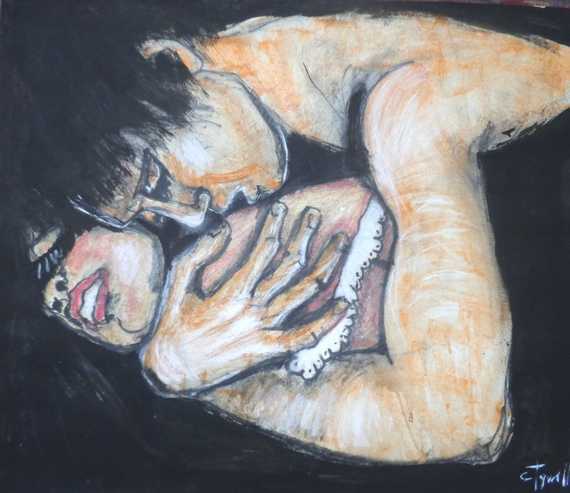 Lovers - Together Forever.jpg :: Original figurative contemporary painting, unframed. Watercolour pencils, chalk and black acrylic painting on paper. An emotional image of an embraced couple in love. Size 56 cm x 66 cm (22\