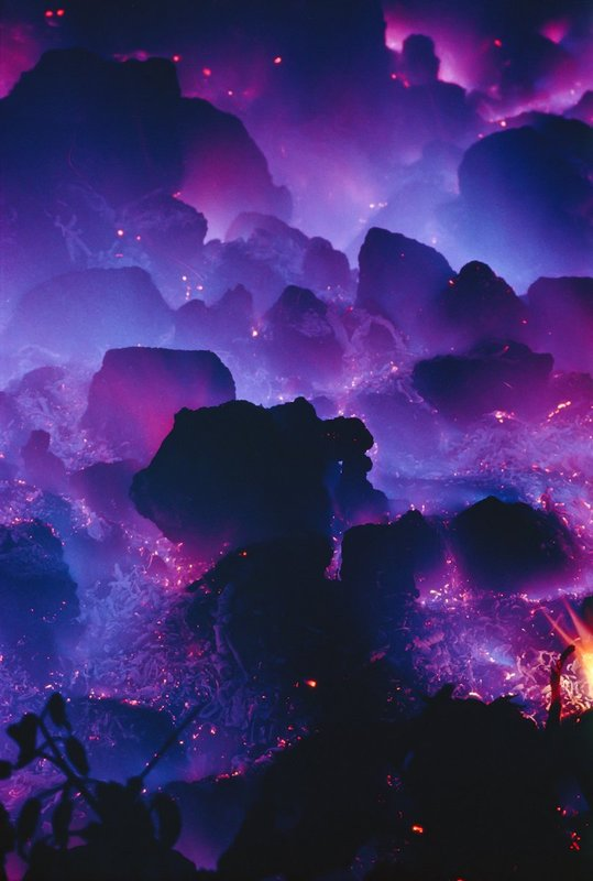 24-Midnight-Methane-Mist.jpg :: Methane gas burning, due to approaching lava flow.