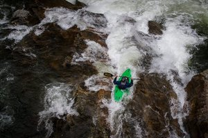 kayaker going over the sinks in great smoky mountain national park