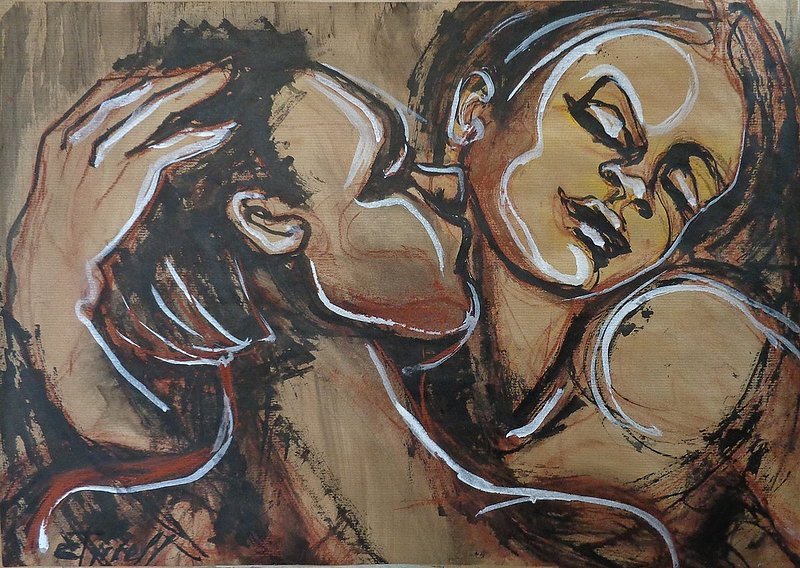 Lovers - First Love.jpg :: Original unique inks and pastels drawing on brown paper, unframed.A contemporary stylized interpretation of a young couple in love.Size 23.5x 16 inch( 60cm x 40cm).FREE next day delivery in U.K.