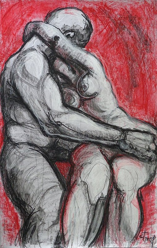 Lovers - Kiss 5 - Rodin.jpg :: Original unique contemporary water soluble wax pastel painting on silk paper, unframed. It is the latest work,  part of the series Lovers - Kiss - Rodin. All the previous 4 works are sold and can be found in private collections worldwide.Size 23x36 inch(58cm x 92cm).FREE next day delivery in U.K.