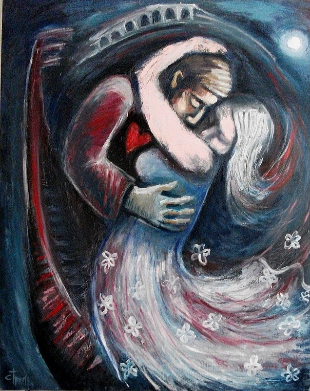 Lovers - Valentine in Venice.jpg :: Original unique oils painting on canvas, painted edges and ready to hang. A contemporary expressionist painting with a romantic and dreaming mood which brings a very warm feeling. Size 31.5x40x1 inch (80cm x 102cm x 1.5cm). FREE delivery in U.K