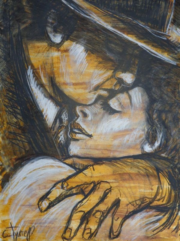 Lovers - Casablanca.jpg :: Original contemporary figurative drawing on paper, unframed. Made using charcoal, white chalk and yellow acrylic.  Inspired by the romantic scenes in silent movies and black and white movies, I decided to create a series of different drawings on paper based on this idea. I like the way love scenes where shown at that time and this makes me smile. The series aims to be a little bit humorous. Size 30\