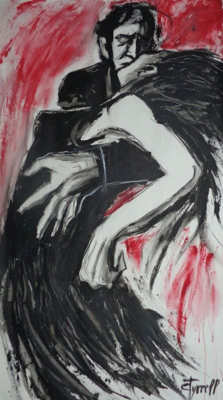 Lovers - Dance of Passion.jpg :: Original contemporary figurative acrylics painting on paper, unframed. Impressive life size image of a couple in love dancing passionately. The painting was made using black and red acrylics applied by palette knife to suggest the passion and the movement. Size 22\