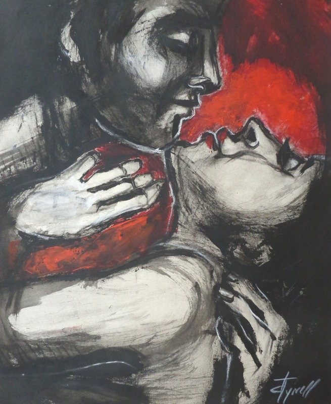 Lovers - Gypsy Passion 1.jpg :: Original contemporary figurative painting on paper, unframed. Made using charcoal and red and black acrylics. A romantic image of an embraced couple in love.  Size 50 cm x 60 cm (19.75\