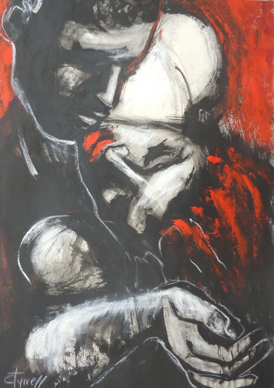 Lovers - Gypsy Passion 2.jpg :: Original contemporary figurative acrylics, charcoal and chalk painting on paper, unframed. Powerful image of a passionate couple in love.Large  strokes of black and red acrylic paints applied by palette knife. Size 19.75 \