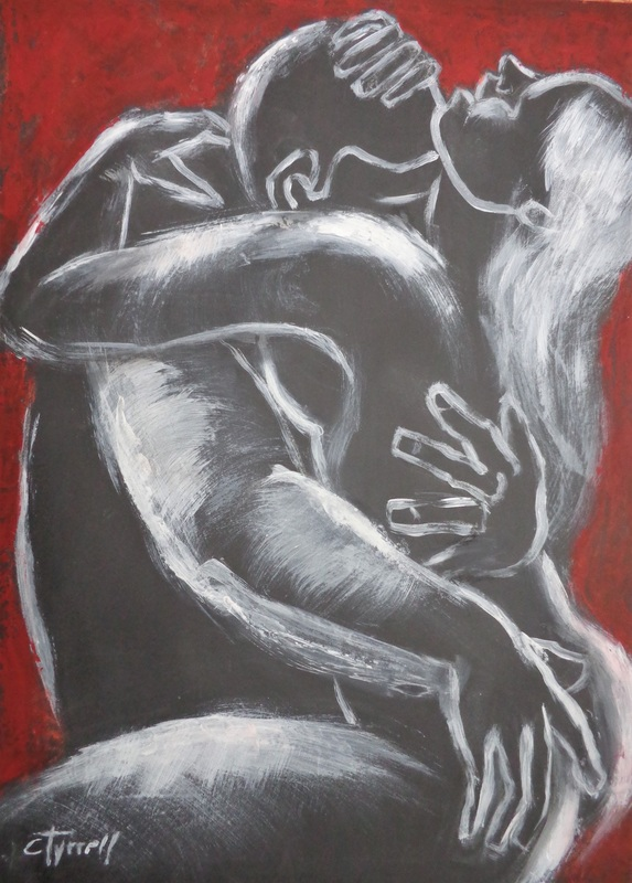 Lovers - Hot Night 5.jpg :: Original contemporary figurative painting, unframed. White and red acrylics on black paper. Part of a new series of erotic and sensual drawings and paintings of passionate lovers. Size 59 cm x 84 cm (23.5\