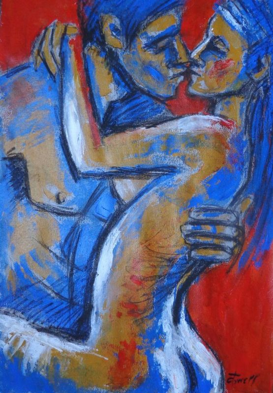 Lovers - Hot Summer Love.jpg :: Original contemporary figurative charcoal and  acrylics painting on grey textured paper, unframed. Fresh and colourful painting made using blue, orange and yellow acrylics applied by palette knife. Romantic image of an embraced couple in love. Size 21\