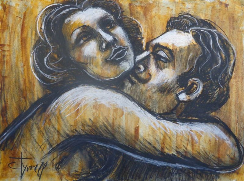 Lovers - I Love You To The Moon And Back.jpg :: Original contemporary figurative drawing on paper, unframed. Made using charcoal, white chalk and yellow acrylic.  Inspired by the romantic scenes in silent movies and black and white movies, I decided to create a series of different drawings on paper based on this idea. I like the way love scenes where shown at that time and this makes me smile. The series aims to be a little bit humorous. Size 30\
