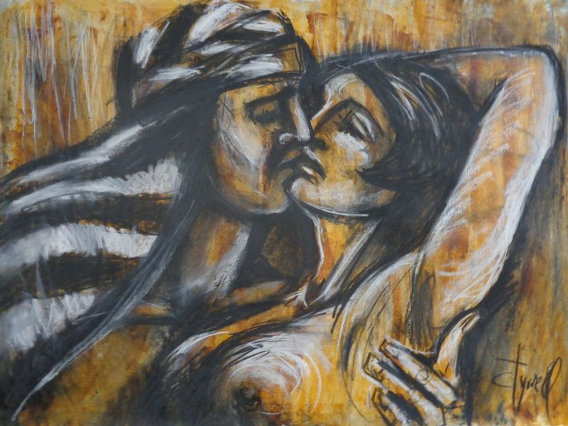 Lovers - Laurence Of Arabia.jpg :: Original contemporary figurative drawing on paper, unframed. Made using charcoal, white chalk and yellow acrylic.  Inspired by the romantic scenes in silent movies and black and white movies , I decided to create a series of different drawings on paper based on this idea. I like the way love scenes where shown at that time and this makes me smile. The series aims to be a little bit humorous. Size 30\