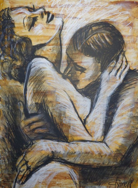 Lovers - Mon Amour.jpg :: Original contemporary figurative drawing on paper, unframed. Made using charcoal, white chalk and yellow acrylic.  Inspired by the romantic scenes in silent movies and black and white movies, I decided to create a series of different drawings on paper based on this idea. I like the way love scenes where shown at that time and this makes me smile. The series aims to be a little bit humorous. Size 30\