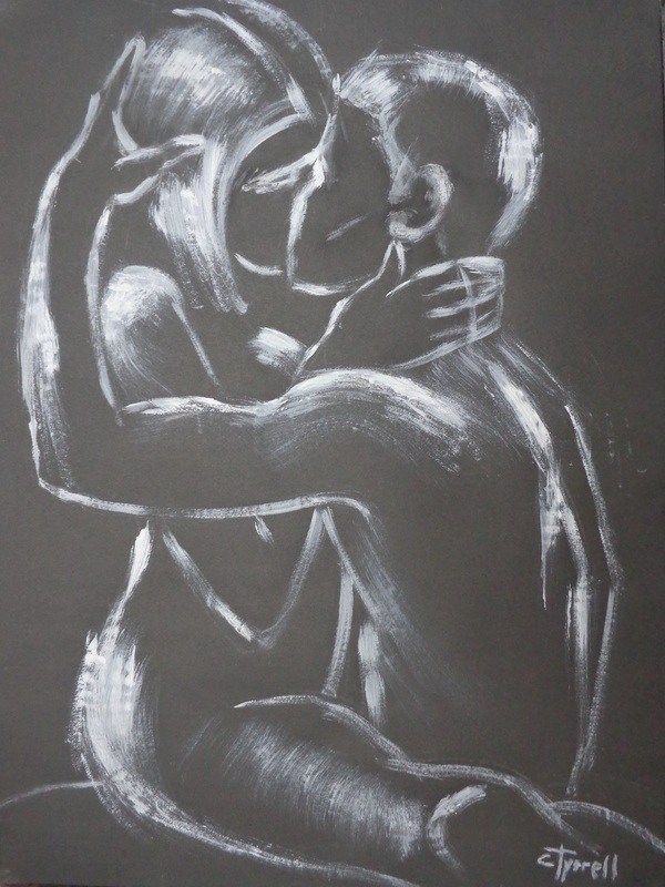 Lovers - Moonlight Kiss 2.jpg :: Original figurative white acrylic painting on black paper, unframed. Romantic image of a man and woman lovers kissing and embracing.  Monochrome minimalist painting made using a large DIY brush and not too much paint. Size 60 cm x 80 cm (23.5\