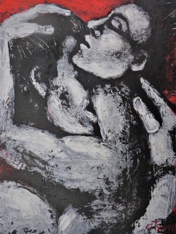 Lovers - Passionate 3.jpg :: Original figurative acrylics painting on canvas panel, unframed, part of a new series. Expressive and powerful profile image of a man and a woman passionately kissing. Textured painting made using black, white and red acrylics applied with a palette knife. Size 40 cm x 50 cm x 0.5 cm (16\