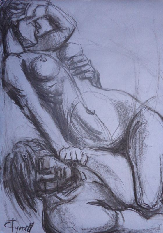 Lovers - Rescue.jpg :: Original contemporary figurative charcoal drawing on light blue paper, unframed. For this drawing I was inspired by a classical sculpture on the subject  \
