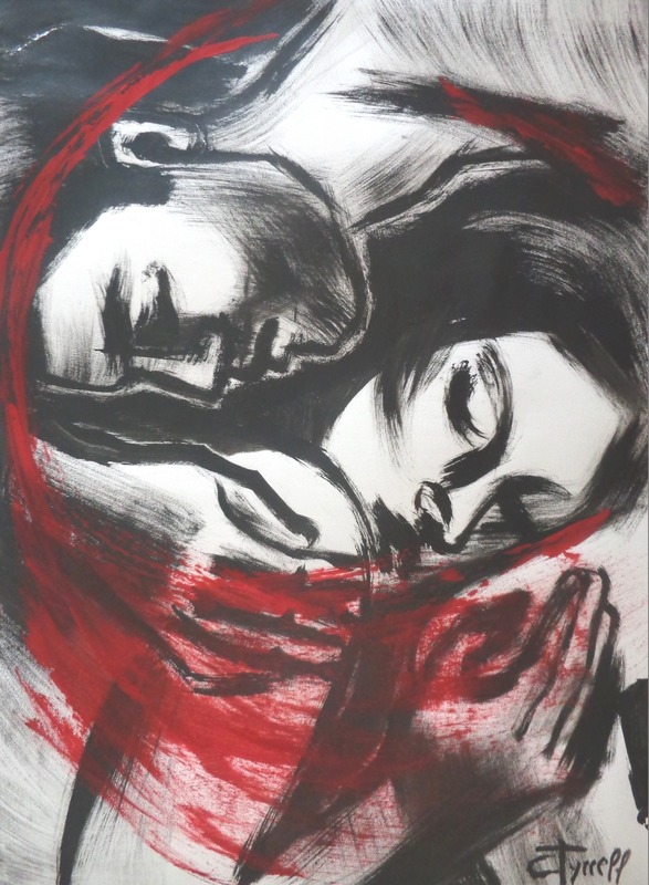 Lovers - The Power Of Love 2.jpg :: Original figurative painting on paper, unframed. Black and red acrylic on white paper made using a 2 inch DIY brush. Size 50 cm x 70 cm (20\