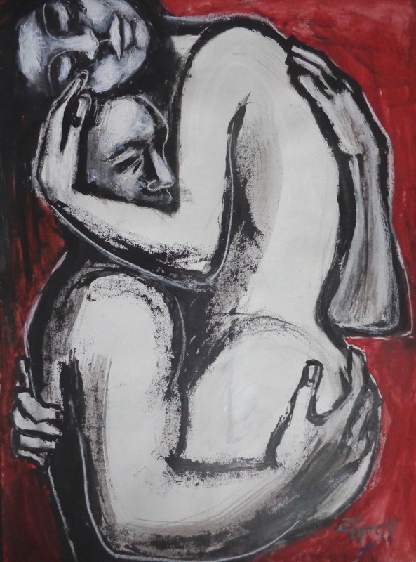 Lovers - Wrapped In Your Arms 2.jpg :: Original figurative painting on paper, unframed.  Black and red acrylics and white chalk. Painted using the palette knife. From the series, the second powerful image of an embraced couple in love. Size 56 cm x 76 cm (22\
