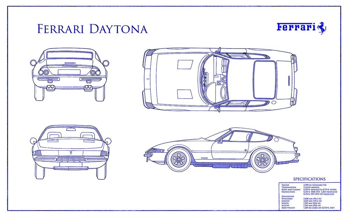 Blueprint Ferrari Daytona White Blue :: Creative Wine Art by Jon Neidert