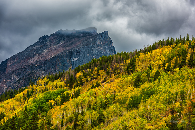 Halletts Autumn.jpg :: Hallett Peak as the storm clears -she watches over her colorful and shapely look-alike