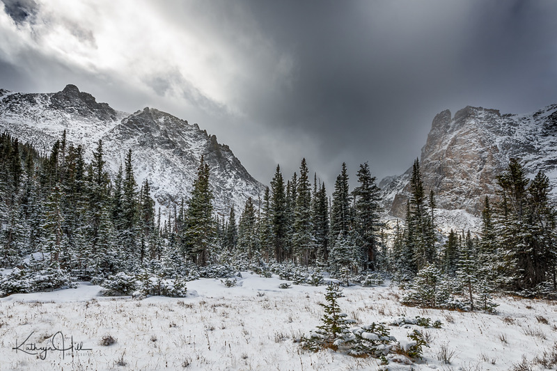 Peaceful Breakthroughs.jpg :: The sun tries desperately to break through the blowing clouds of snow on a bitterly cold October day in Rocky Mountain National Park, Colorado