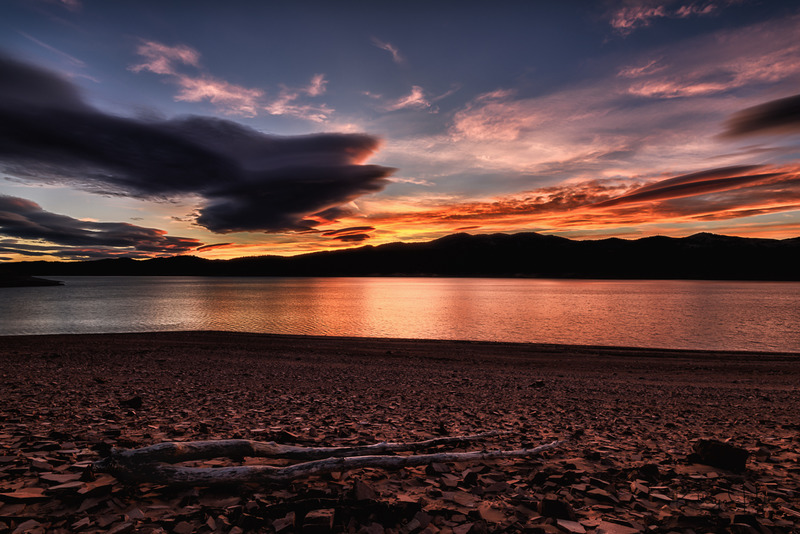 Red Sunset.jpg :: Sunset lights up over a quiet lake on a December evening in northern Colorado.