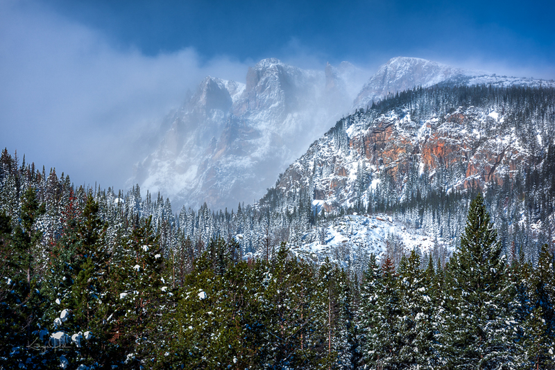 Shrouded Spires.jpg :: Flattop Mountain's Spires stand rather stately as they are shrouded in the blowing snow on a blustery autumn day in Rocky Mountain National Park, CO, USA.