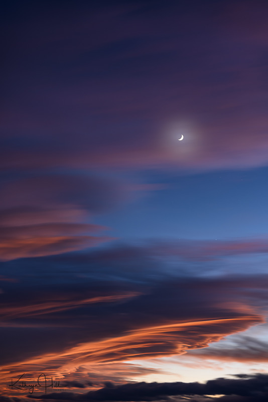 Sunset Meets Moon.jpg :: Our waxing moon glows through the late sunset clouds on a colorful northern Colorado evening.