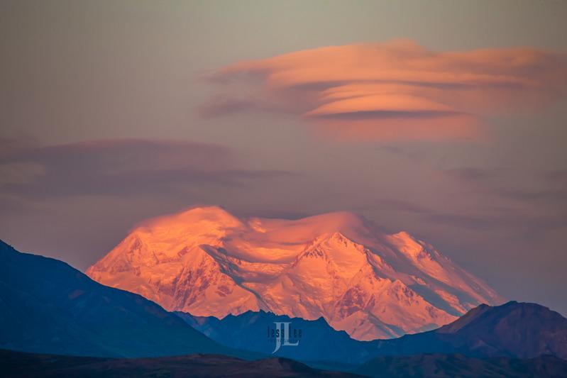 Denali-sunrise_LEE2305 (2).jpg :: Pink sky over Denali mountain at sunrise.