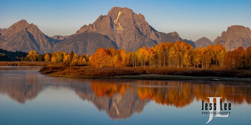 Golden-reflection-CRW_0825.jpg :: Mt Moran reflection with Autumn gold
