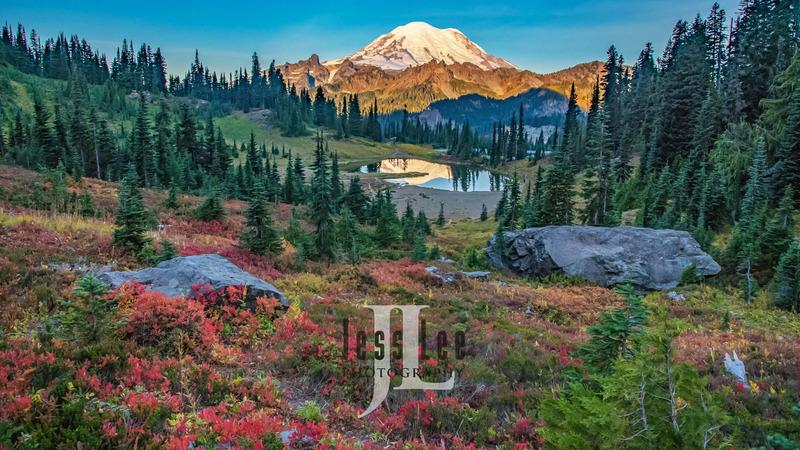 Rainier-fall_JRL5380.jpg :: Mount Rainier with autumn color overlooking Tipso Lake.