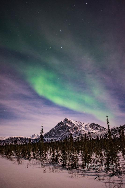overthehillvert-5034-2d905.jpg :: Mountain top Northern Lights or aurora in Alaska with photo workshop by Jess Lee.