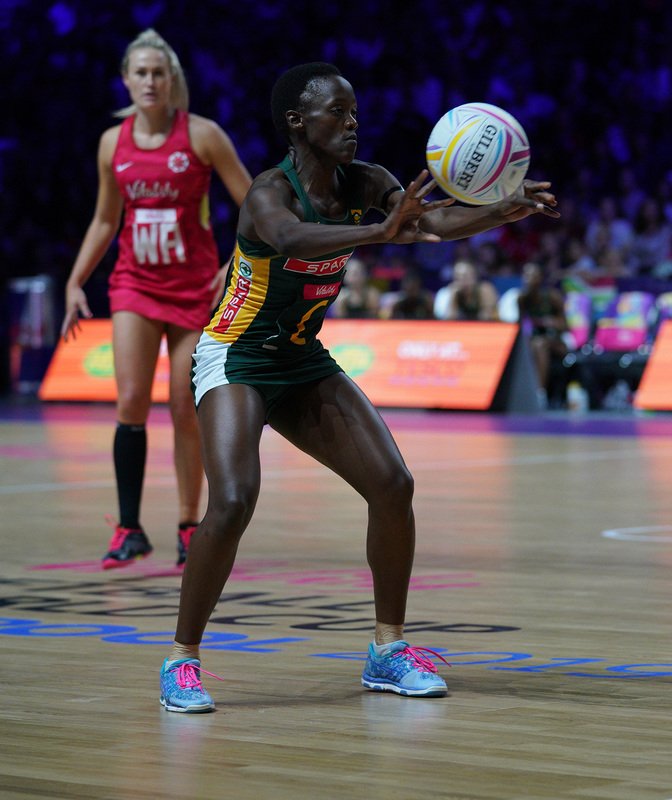 G_Glendinning_SA907328.jpg :: Bongiwe Msomi (RSA) in action during Vitality Netball World Cup 2019 at M&S Bank Arena Liverpool United Kingdom on July 18 2019. GlennSports.