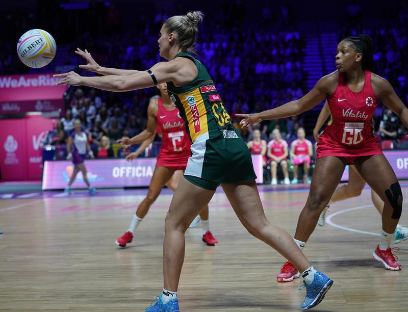 G_Glendinning_SA907331.jpg :: Maryka Holtzhausen (RSA) in action during Vitality Netball World Cup 2019 at M&S Bank Arena Liverpool United Kingdom on July 18 2019. GlennSports.