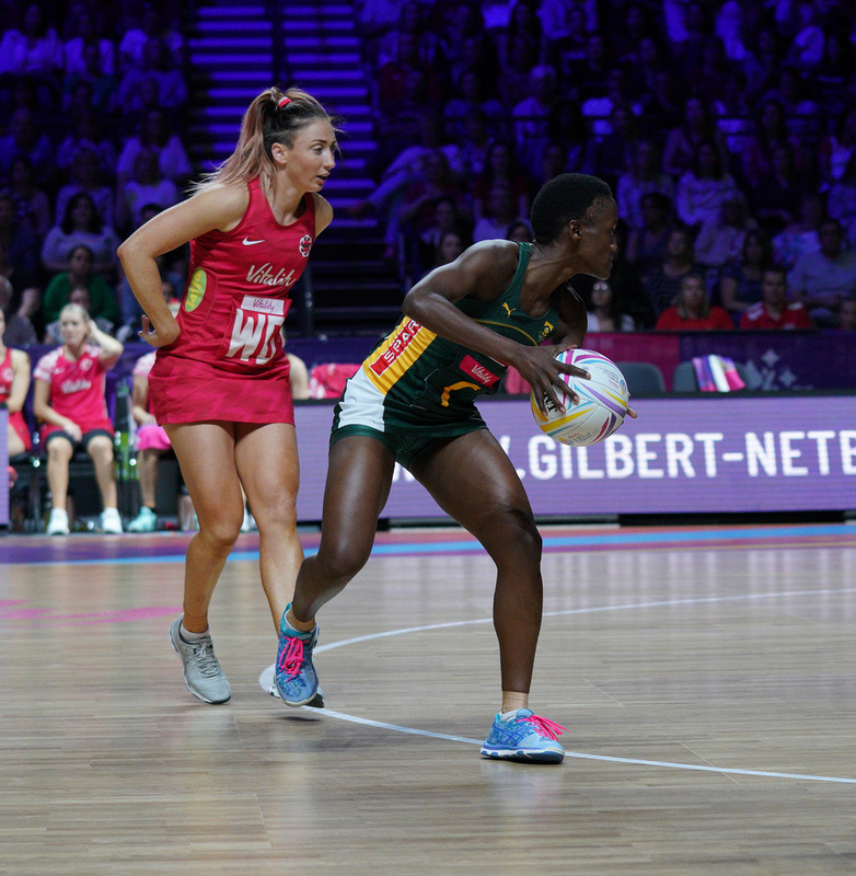 G_Glendinning_SA907335.jpg :: Bongiwe Msomi (RSA) in action during Vitality Netball World Cup 2019 at M&S Bank Arena Liverpool United Kingdom on July 18 2019. GlennSports.