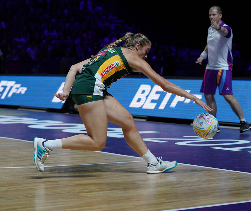 G_Glendinning_SA907342.jpg :: Izette Griesel (RSA) in action during Vitality Netball World Cup 2019 at M&S Bank Arena Liverpool United Kingdom on July 18 2019. GlennSports.
