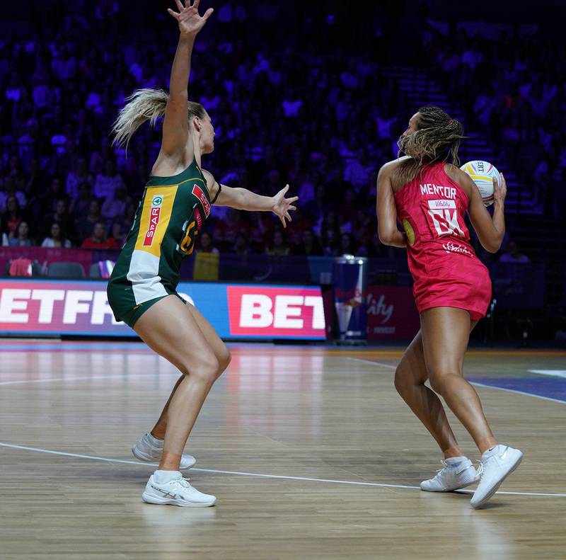 G_Glendinning_SA907346.jpg :: Geva Mentor (ENG) in action during Vitality Netball World Cup 2019 at M&S Bank Arena Liverpool United Kingdom on July 18 2019. GlennSports.