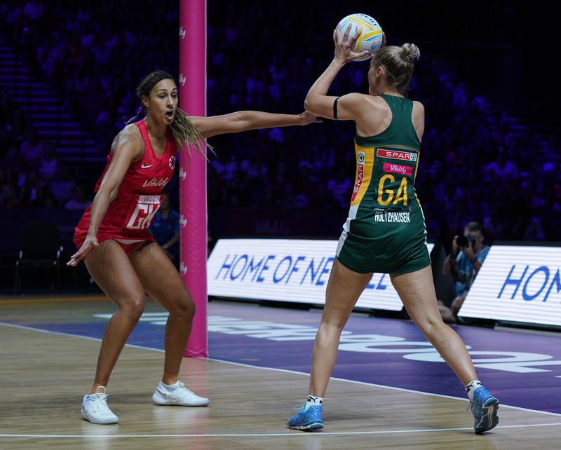 G_Glendinning_SA907360.jpg :: Maryka Holtzhausen (RSA) in action during Vitality Netball World Cup 2019 at M&S Bank Arena Liverpool United Kingdom on July 18 2019. GlennSports.