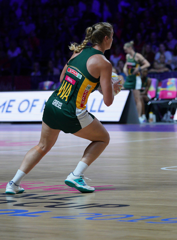 G_Glendinning_SA907399.jpg :: Izette Griesel (RSA) in action during Vitality Netball World Cup 2019 at M&S Bank Arena Liverpool United Kingdom on July 18 2019. GlennSports.