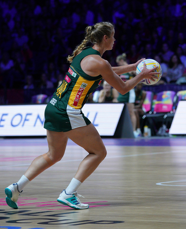 G_Glendinning_SA907400.jpg :: Izette Griesel (RSA) in action during Vitality Netball World Cup 2019 at M&S Bank Arena Liverpool United Kingdom on July 18 2019. GlennSports.