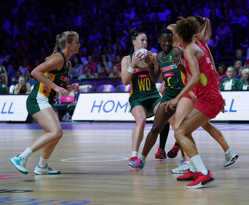 G_Glendinning_SA907403.jpg :: Shadine Van Der Merwe (RSA) in action during Vitality Netball World Cup 2019 at M&S Bank Arena Liverpool United Kingdom on July 18 2019. GlennSports.