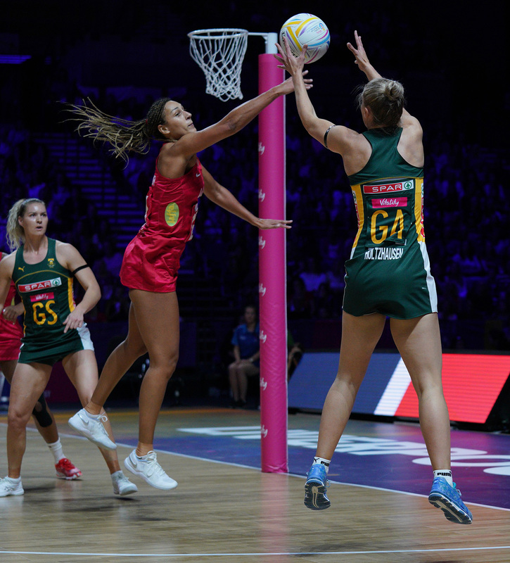G_Glendinning_SA907408.jpg :: Maryka Holtzhausen (RSA) in action during Vitality Netball World Cup 2019 at M&S Bank Arena Liverpool United Kingdom on July 18 2019. GlennSports.