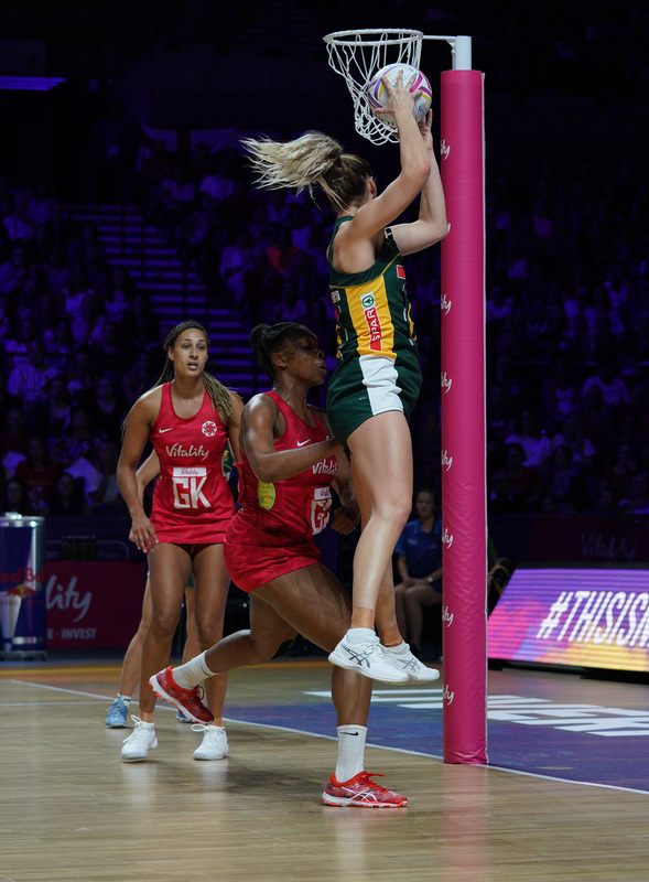 G_Glendinning_SA907436.jpg :: Lenize Potgieter (RSA) in action during Vitality Netball World Cup 2019 at M&S Bank Arena Liverpool United Kingdom on July 18 2019. GlennSports.