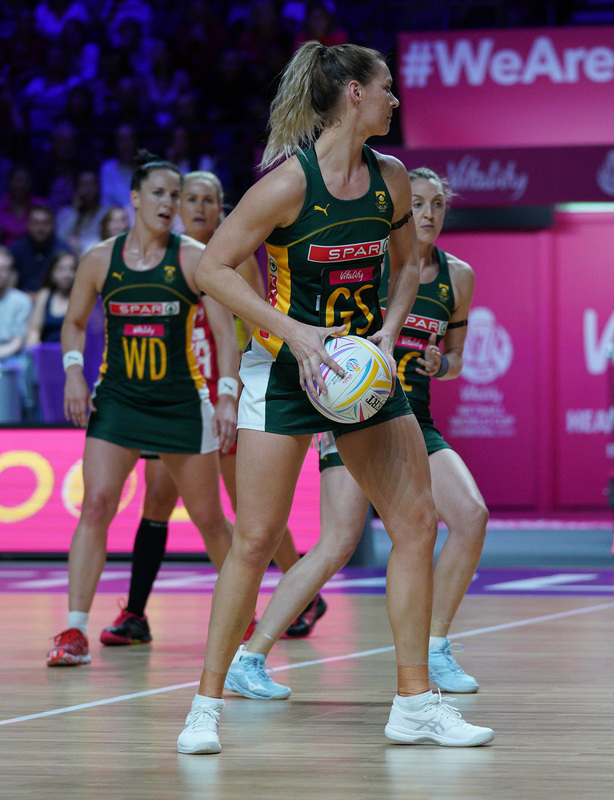 G_Glendinning_SA907455.jpg :: Lenize Potgieter (RSA) in action during Vitality Netball World Cup 2019 at M&S Bank Arena Liverpool United Kingdom on July 18 2019. GlennSports.